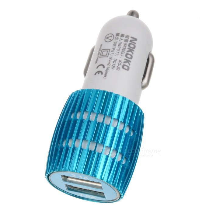 Mini 2*USB Car Charger for Phone, Tablet, USB Devices - White + BlueCar Chargers<br>Form ColorWhite + BlueQuantity1 DX.PCM.Model.AttributeModel.UnitMaterialABSShade Of ColorWhiteCompatible ModelsOthers,USB devicesPower AdapterCar Cigarette Lighter PlugInput12~24VOutput interface, output current, output voltage5V/1A, 5V/2.4ACable Length0 DX.PCM.Model.AttributeModel.UnitPacking List1 x Charger<br>