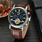 MCE Multifunction Analog Automatic Mechanical Watch - Brown + Black