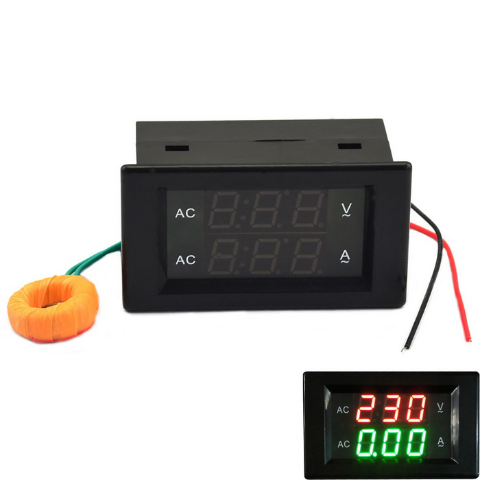 Jtron 3-digit AC 500V 10A Voltage Current Meter Module - BlackDIY Parts &amp; Components<br>Quantity1 DX.PCM.Model.AttributeModel.UnitForm ColorBlackMaterialPlastic + ironEnglish Manual / SpecNoCertificationNoPacking List1 x Voltage meter module (Cable length: 10cm)<br>