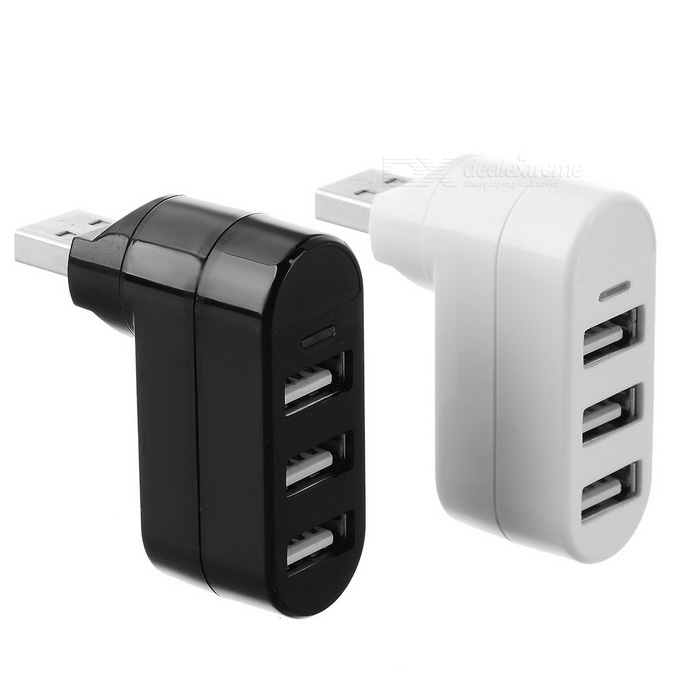 USB 2.0 Charging / Data Sync Hub w/ Blue Light - Black + White (2PCS)