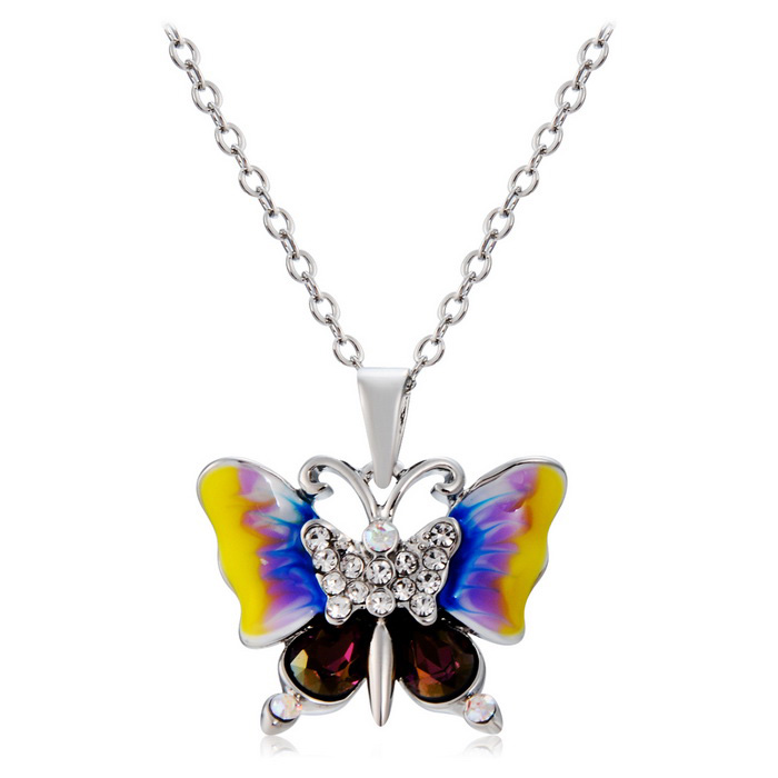 Xinguang Oil Painting Butterfly Crystal Necklace - Silver