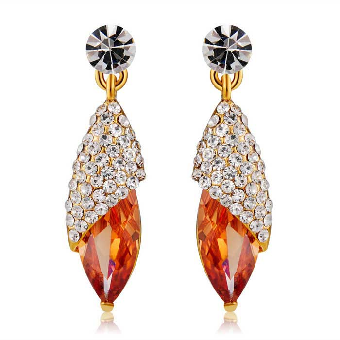 Xinguang Unique Corn Design Crystal Earrings for Women - Golden (Pair)