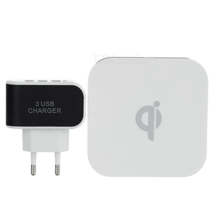Qi Wireless Charger + EU Plug 3-USB Port Power Adapter Set - White