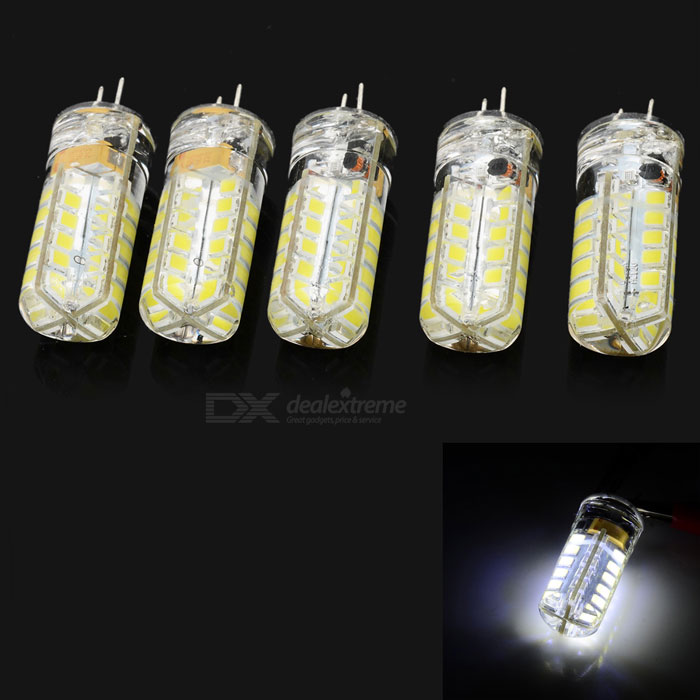G4 3W 48-SMD Bluish White LED Light Bulbs - White + Yellow (5PCS)