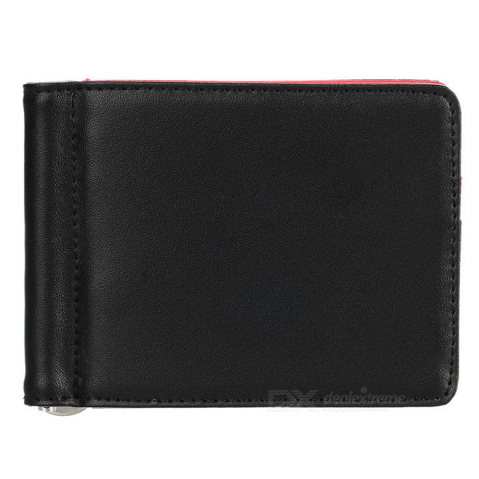 JIN BAO LAI Unisex Genuine Leather Wallet w/ Cash Clip - Black + Red