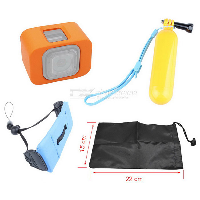 Floaty Buoy Case, Floating Grip Mount, Wrist Strap for GoPro 4 Session