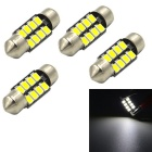 JMT 31mm 2W LED 200lm 8-LED White Car Reading Light - Silver (4PCS)