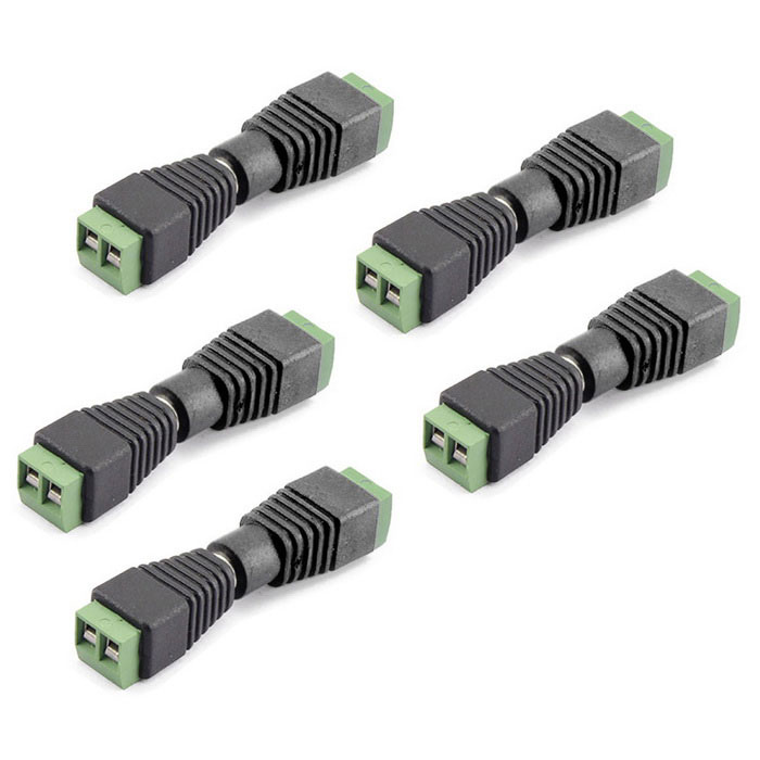 5.5*2.1mm CCTV DC Power Connectors - Black + Green (5 Groups)