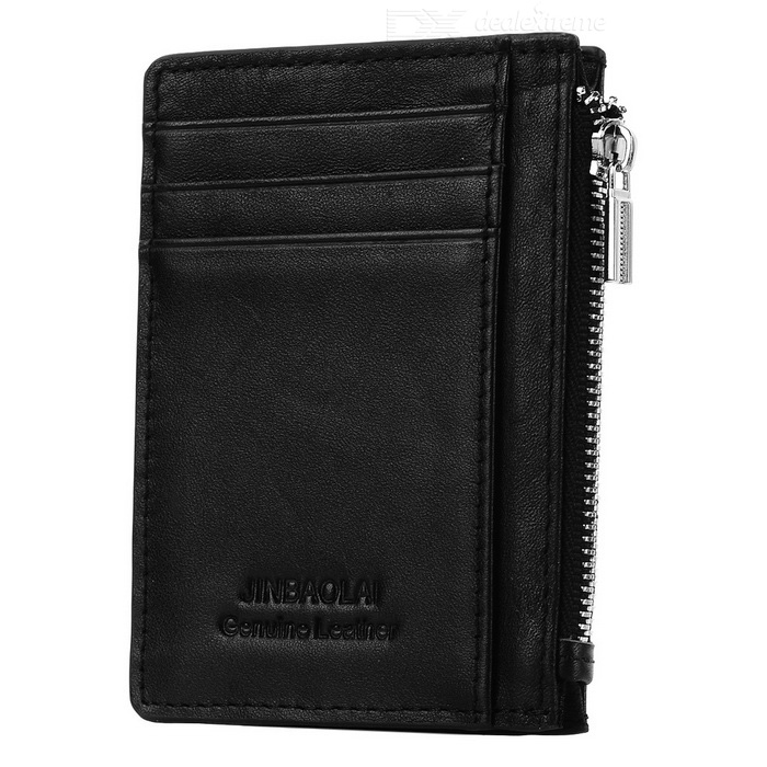 JIN BAO LAI Men's Zippered Leather Cards Holder Wallet Purse