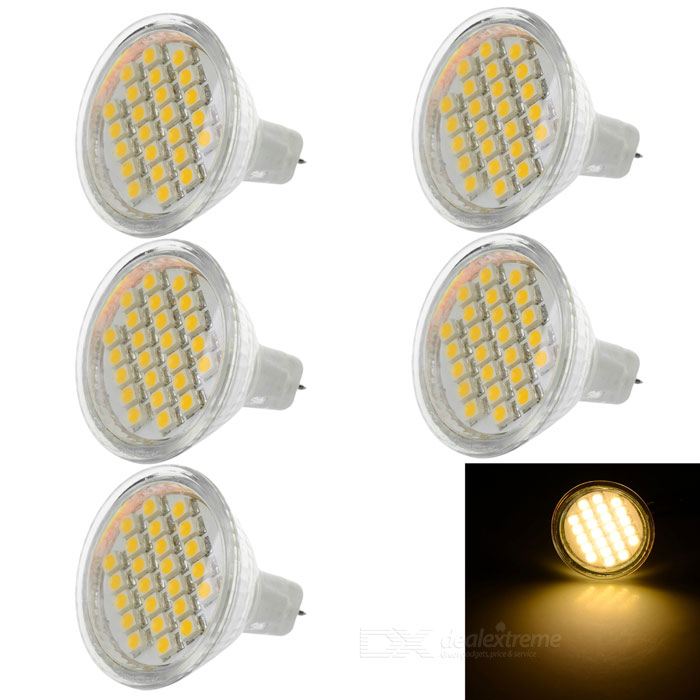 JRLED MR11 3W LED Bulb Lamp Warm White Light 3200K 110lm 24-SMD (5PCS)Other Connector Bulbs<br>Form  ColorWhite + Transparent + Multi-ColoredColor BINWarm WhiteMaterialQuartz glass + LEDQuantity5 DX.PCM.Model.AttributeModel.UnitPower3WRated VoltageDC 12 DX.PCM.Model.AttributeModel.UnitConnector TypeMR11Chip BrandOthers,N/AEmitter Type3528 SMD LEDTotal Emitters24Theoretical Lumens130 DX.PCM.Model.AttributeModel.UnitActual Lumens76~110 DX.PCM.Model.AttributeModel.UnitColor Temperature12000K,Others,3000-3200KDimmableNoBeam Angle180 DX.PCM.Model.AttributeModel.UnitOther FeaturesSmall size, high brightness; Ideal light source choice for home lighting, crystal lamps, bar lighting, hotel lighting, etc.Packing List5 x Lights<br>