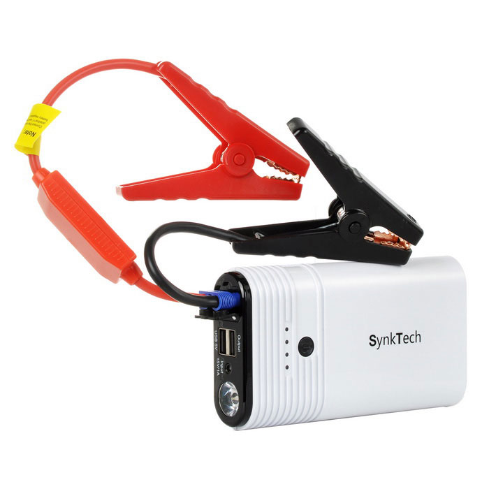 Buy SynkTech 12000mAh Emergency Car Jump Starter w/ LED Flashlight - White with Litecoins with Free Shipping on Gipsybee.com