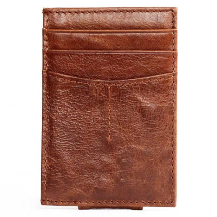 Men's Multi-functional Top Layer Cowhide Wallet - Light Coffee