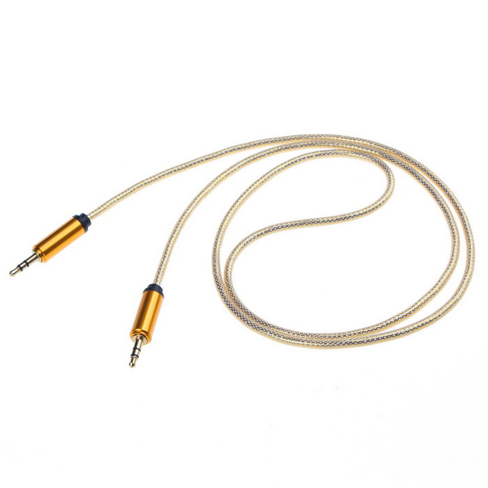 3.5mm Male to Male Car AUX Audio Cable - Golden (100cm)