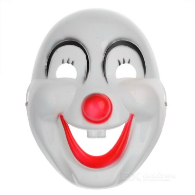 Halloween Masquerade Party PVC Clown Mask - White + Black + Red