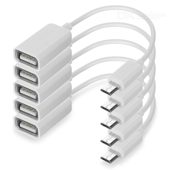 Buy Portable Micro USB to USB OTG Adapter Cables - White (5 PCS / 16cm) with Litecoins with Free Shipping on Gipsybee.com