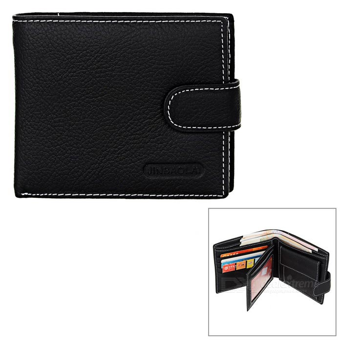 JINBAOLAI Men's Genuine Leather Cards Holder Hasp Wallet Purse - Black