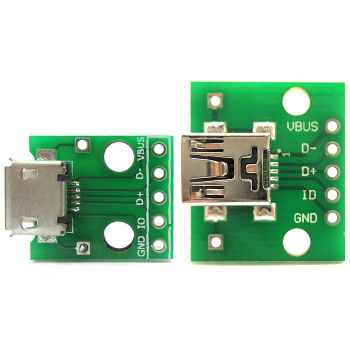 Mini USB to 2.54mm DIP 5P + Micro USB to DIP 5P Adapter Module