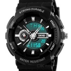 SKMEI 50m Waterproof Double Movement Students Watch - Black + White