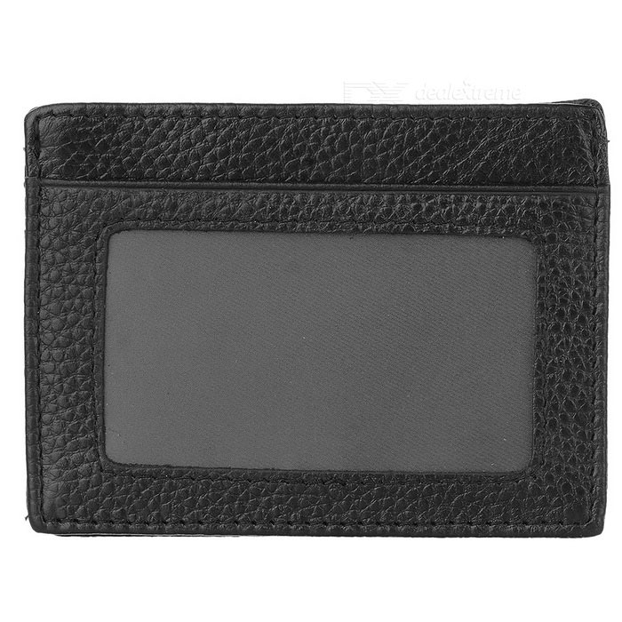 JINBAOLAI Convenient Genuine Leather Cards Holder Organizer - Black