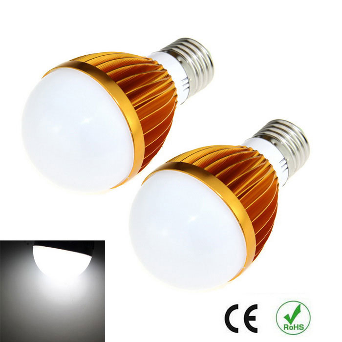 E27 9W LED Bulbs Cold White Light 1000lm - Golden+Silver (2PCS)E27<br>Form  ColorGolden + SilverColor BINCold WhiteMaterialAluminium alloyQuantity1 DX.PCM.Model.AttributeModel.UnitPower9WRated VoltageAC 85-265 DX.PCM.Model.AttributeModel.UnitConnector TypeE27Chip Type5630Emitter TypeLEDTotal Emitters10Theoretical Lumens1200 DX.PCM.Model.AttributeModel.UnitActual Lumens1000 DX.PCM.Model.AttributeModel.UnitColor Temperature6500KDimmableNoBeam Angle180 DX.PCM.Model.AttributeModel.UnitCertificationCEPacking List2 x Light bulbs<br>