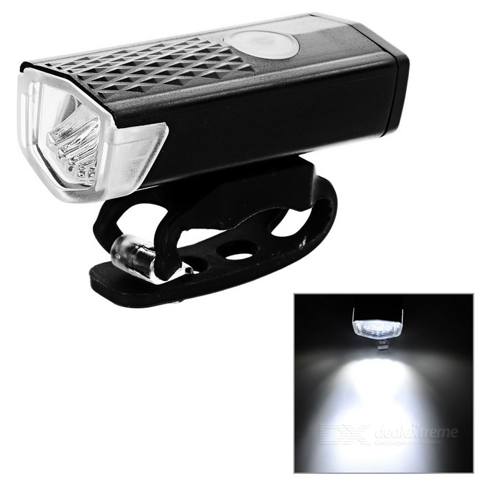 USB Charging White Light 3-Mode Bicycle Bike Front Light - Black