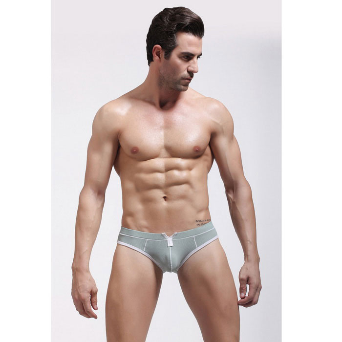 Men's Sexy Nylon Jacquard Triangle Underwear - Light Grey + White (L)