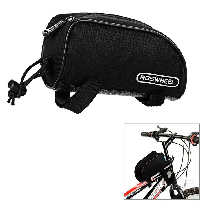 ROSWHEEL Bicycle Bike Top Tube Bag - Black (1L)Bike Bags<br>Form ColorBlackQuantity1 DX.PCM.Model.AttributeModel.UnitMaterial600D polyester + PVCTypeOthers,Top tube bagCapacity1 DX.PCM.Model.AttributeModel.UnitWaterproofNoGenderUnisexBest UseCycling,Road CyclingCertificationCEPacking List1 x Bag<br>