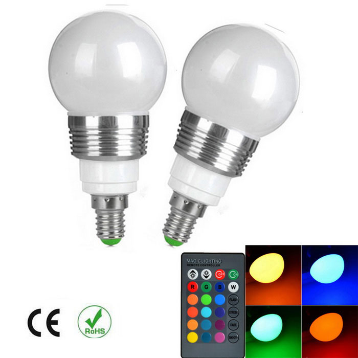 E14 Dimmable RGB LED Energy Saving Ball Steep Light w/ Remote (2PCS)