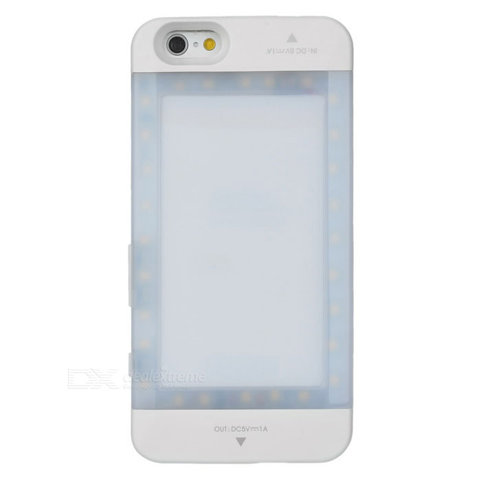 VILTROX 3800mAh Backup Battery Case w/ 28-LED Fill Light - WhiteOther Cases<br>Form ColorwhiteShade Of ColorWhiteQuantity1 DX.PCM.Model.AttributeModel.UnitMaterialOthers,ABSCompatible ModelsIPHONE 6StyleBack CasesDesignTransparent,MatteAuto Wake-up / SleepNoOther FeaturesLED quantity: 28; Light color: whitePacking List1 x IPHONE 6 LED housing shell1 x Power charging cable (100cm)1 x IPHONE 6 charging cable (19cm)<br>