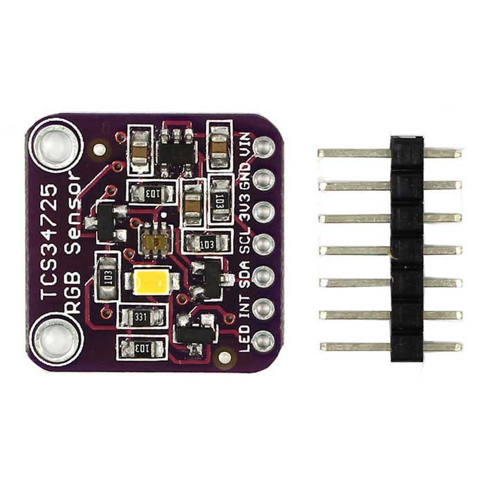 TCS34725 RGB Color Sensor with IR filter and White LEDSensors<br>Form ColorPurpleModelN/AQuantity1 DX.PCM.Model.AttributeModel.UnitMaterialFR4, PCBApplicationColor recognitionWorking Voltage   3.3V or 5 DX.PCM.Model.AttributeModel.UnitEnglish Manual / SpecNoDownload Link   https://github.com/adafruit/Adafruit_TCS34725Packing List1 x Modular1 x Pin<br>