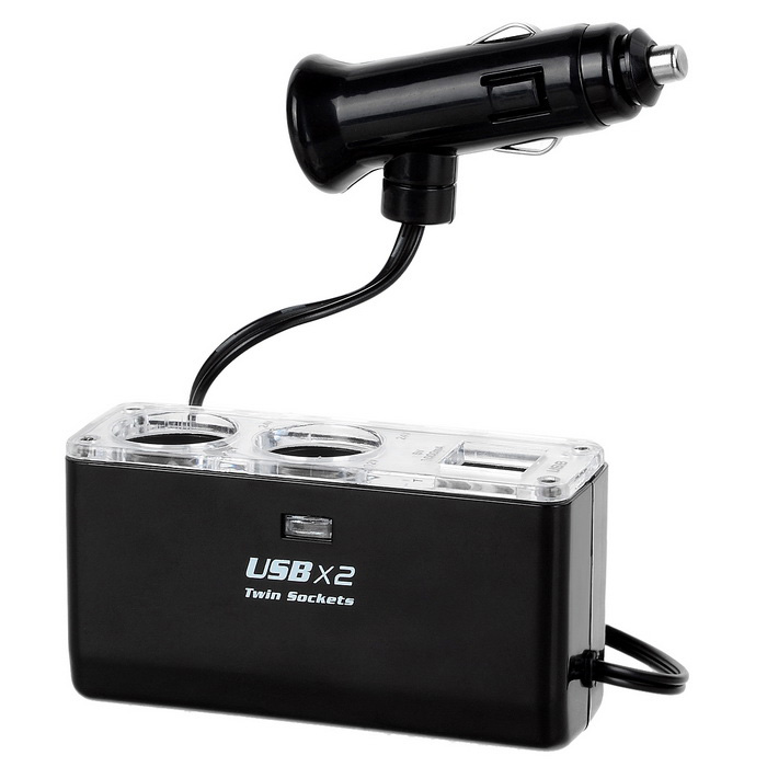 Buy Jtron 12~24V Two Socket Dual USB Cigarette Lighter Car Charger - Black with Litecoins with Free Shipping on Gipsybee.com