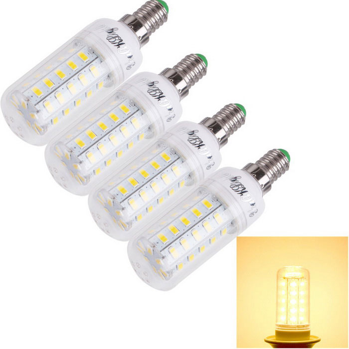 YouOKLight E14 12W LED Corn Bulb Warm White Light 3000K 48-SMD (4PCS)E14<br>Form  ColorTransparent+light yellow+multicolorColor BINWarm WhiteModelYK1170MaterialAL+PCQuantity1 DX.PCM.Model.AttributeModel.UnitPower12WRated VoltageAC 220-240 DX.PCM.Model.AttributeModel.UnitConnector TypeE14Chip BrandOthers,N/AEmitter TypeOthers,5730Total Emitters48Theoretical Lumens1200 DX.PCM.Model.AttributeModel.UnitActual Lumens1000 DX.PCM.Model.AttributeModel.UnitColor Temperature3000KDimmableNoBeam Angle360 DX.PCM.Model.AttributeModel.UnitCertificationCE&amp;RoHSPacking List4 x LED Corn bulbs<br>