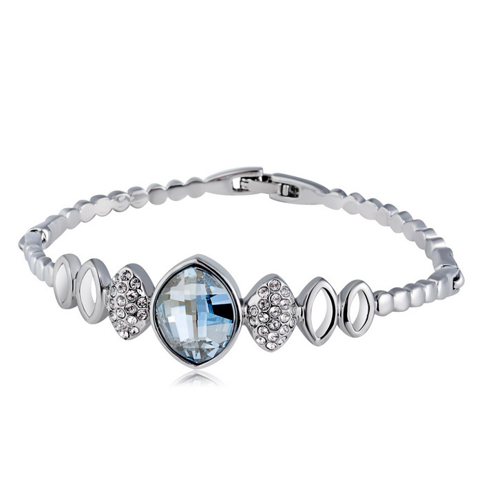 Xinguang Olive Mosaic Style Crystal Bracelet for Women - Silver