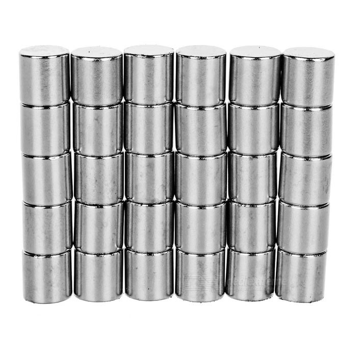 D10*10mm Cylindrical NdFeB Magnet - Silver (30PCS)
