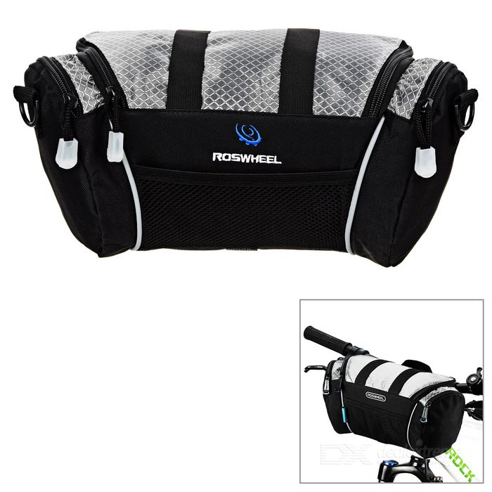 ROSWHEEL Outdoor Multifunctional Handlebar Bag - Silver + Black