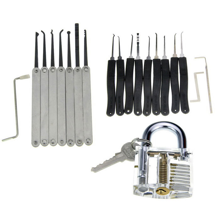 Single Hook + One-slot Training Lock + Lock Pick Tool SetLocksmith Supplies<br>ModelN/AQuantity1 DX.PCM.Model.AttributeModel.UnitForm  ColorOthers,Silver + BlackMaterialABS+ stainless steelPacking List7 x Single Hooks (with Z shape pick)1 x Sloted Transparent Training Lock (with 1 key)9 x Lock picks (with L,Z shape pick)<br>
