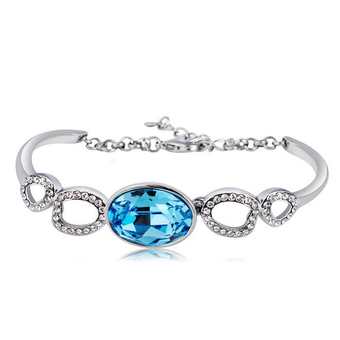 Xinguang-Womens-Fashionable-Oval-Blue-Crystal-Bracelet-Silver