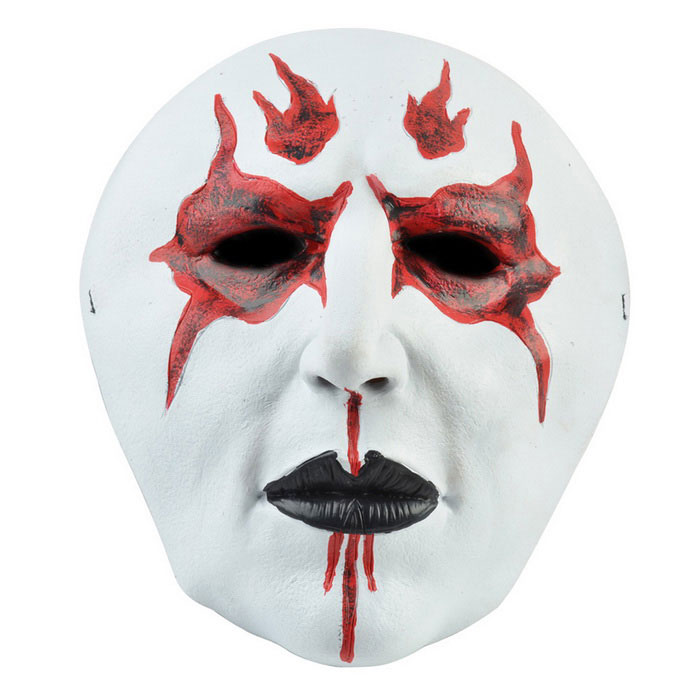 Fire Devil King Style Rubber Mask for Cosplay Costume Party - White