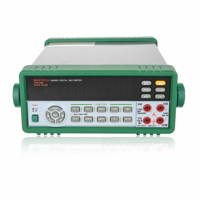MASTECH MS8050 53000 Words DBM True RMS Value Bench MultimeterMultimeters<br>Form  ColorGreen + Black + Multi-ColoredModelMS8050Quantity1 DX.PCM.Model.AttributeModel.UnitMaterialABSMax. Display53000DC Voltage50mV/500mV/5V/50V/500V/1000V±0.03% ±6AC Voltage50mV/500mV/5V/50V/500V/1000V ±0.5%±40DC Current500A/5000A/50mA/500mA,±0.15%±10,5A/10A±0.5%±10AC Current500A/5000A/50mA/500mA±0.75%±10,5A/10A±1.0%±10Resistance500/5K/50K/500K/5M±0.1%±5,50M±0.5%±10Capacitance Accuracy50nF/500nF/5F/50F±1%±10,500F/5000F±2%±10Frequency Accuracy5Hz2MHz,±0.006%±4Transistor TestYesTemperature TestNoFrequency TestYesPower Consumption TestNoShort-Circuit ProtectionYesShort Curcuit BuzzYesAuto Power OffYesBattery included or notNoPacking List1 x MS8050 Bench multimeter2 x Test lead cable (138+/-2cm)1 x US plug power cable (180+/-2cm)1 x Case1 x RS232C Cable (203+/-2cm)1 x CD1 x Chinese / English User manual<br>