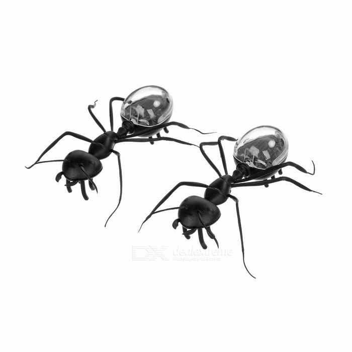 Novel Imitation Ant Solar Powered Toy - Black (2PCS)