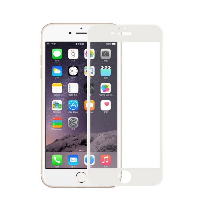 Carbon Fiber Round Edge Tempered Glass Clear Screen Protector for IPHONE 6 & 6S - White
