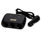 120W Car Cigarette Lighter Socket Splitter & Dual-USB Charger - Black