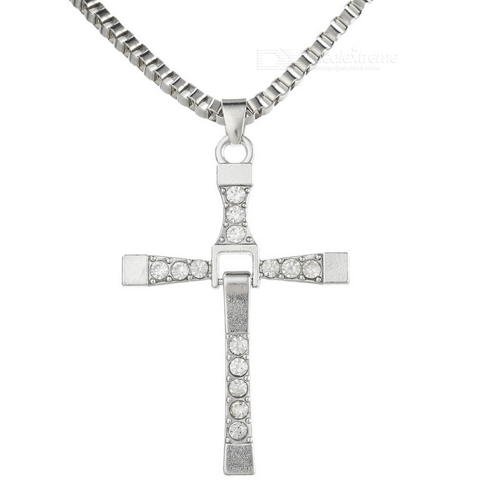 Rhinestones Inlaid Cross Pendant Sweater Decoration Necklace - Silver