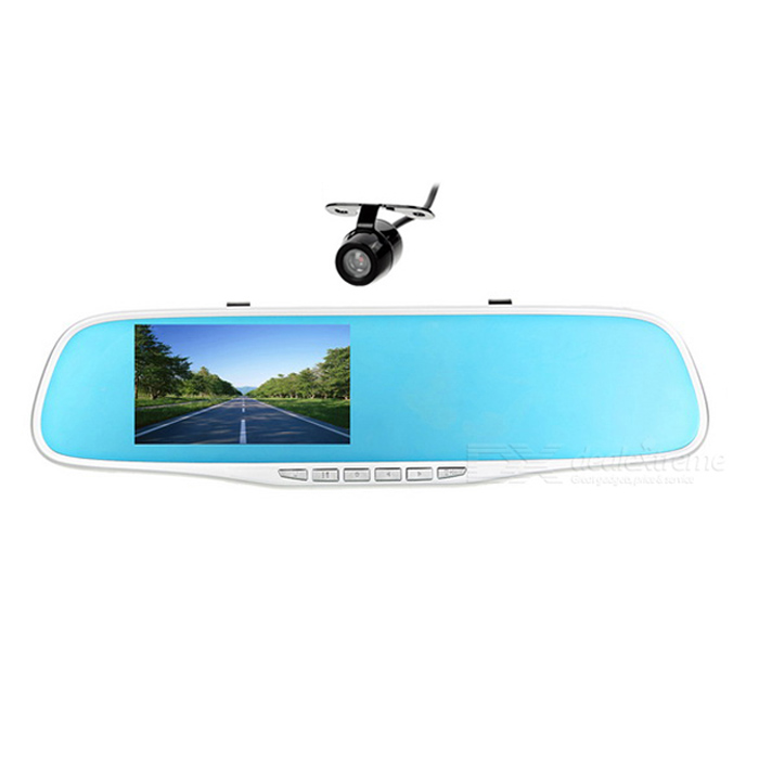 "4.3"" TFT Front + Rear Dual-Camera Car DVR Recorder & Rearview Mirror"