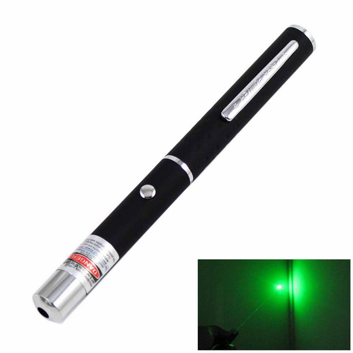 2mW Green Laser Pointer Pen w/ Clip - Black (2*AAA)Laser Pointer<br>Form ColorBlackQuantity1 DX.PCM.Model.AttributeModel.UnitMaterialAluminum alloyLaser Power2 DX.PCM.Model.AttributeModel.UnitWave Length520 DX.PCM.Model.AttributeModel.UnitLaser ColorGreenOutput ModeOptical PumpExcitation ModeOptical PumpWave Band Range520nmWorking modeContinuous laserWorking Voltage   3.0 DX.PCM.Model.AttributeModel.UnitWorking Current1700 DX.PCM.Model.AttributeModel.UnitSpot Mode (Spot size)Battery2 x AAA (not included)Packing List1 x Laser pointer<br>