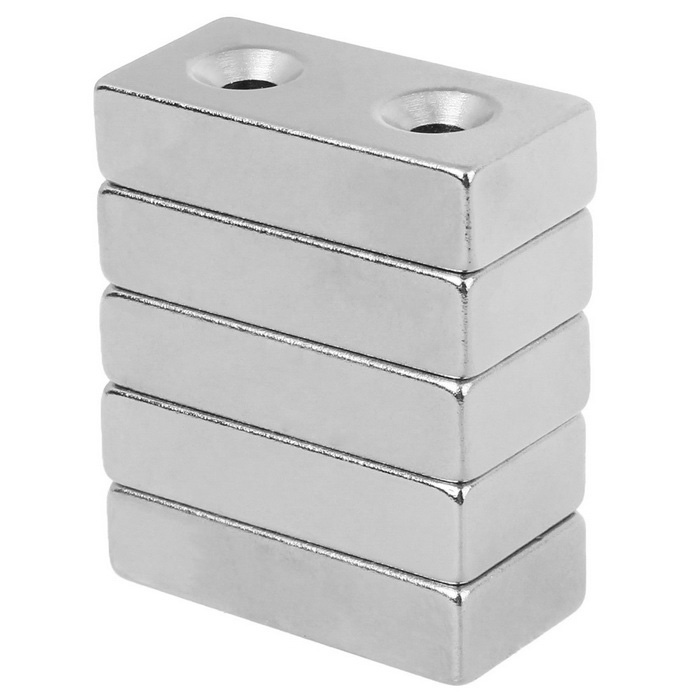 40*20*10mm-Strong-Rectangle-Holes-NdFeB-Magnets-Silver-(5PCS)