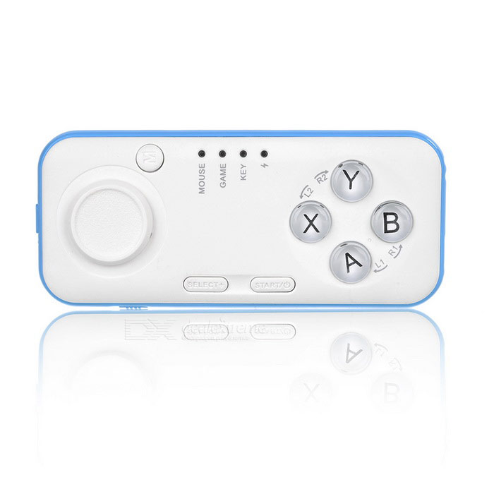 Mini BT V3.0 GamePad w/ Selfie, Music Remote Control, Mouse - BlueOther Bluetooth Devices<br>Form ColorWhite + Blue + Multi-ColoredQuantity1 DX.PCM.Model.AttributeModel.UnitMaterialABSCompatible ModelsOthers,Android /ios /pcConnectionBluetoothBluetooth VersionBluetooth V3.0InfraredNoBattery Measured Capacity 200 DX.PCM.Model.AttributeModel.UnitOperating Range10 DX.PCM.Model.AttributeModel.UnitInterface1 x micro USBOther FeaturesMusic remote control, selfie, turn E-book page, mouse function.Shade Of ColorWhiteOperating Range2-10 MetersStandby Time10 DX.PCM.Model.AttributeModel.UnitApplicable ProductsUniversalBattery TypeLi-polymer batteryBuilt-in Battery Capacity 100 DX.PCM.Model.AttributeModel.UnitPacking List1 x Bluetooth gamepad1 x Holder1 x English user manual<br>