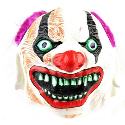 Purple Hair Clown Rubber Mask for Cosplay / Halloween Party - White