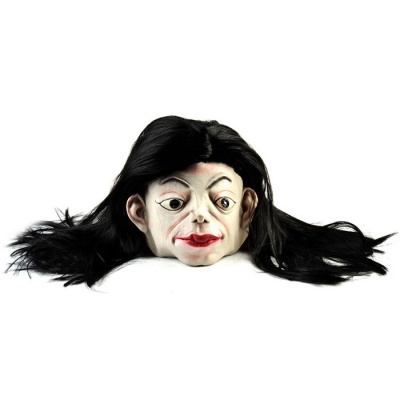 Long Hair White Face Ghost Rubber Mask for Cosplay Party - Black