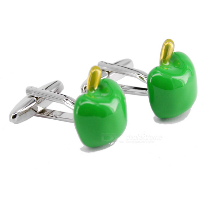 Green Apple Shaped Mens Cufflinks - Silver + Green (Pair)Cufflinks<br>Form  ColorSilver White + GreenQuantity1 DX.PCM.Model.AttributeModel.UnitShade Of ColorSilverMaterialJewelry brassPacking List2 x Cufflinks<br>